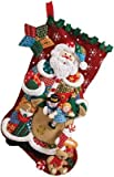 Bucilla 18-Inch Christmas Stocking Felt Applique Kit, Patchwork Santa