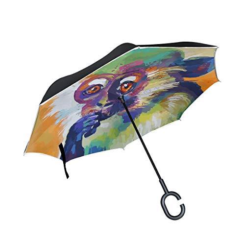 Senuu Art Think Monkey Inverted Umbrella for Car Travel Windproof Reversible Umbrella with C-Shape Handle for Men Women