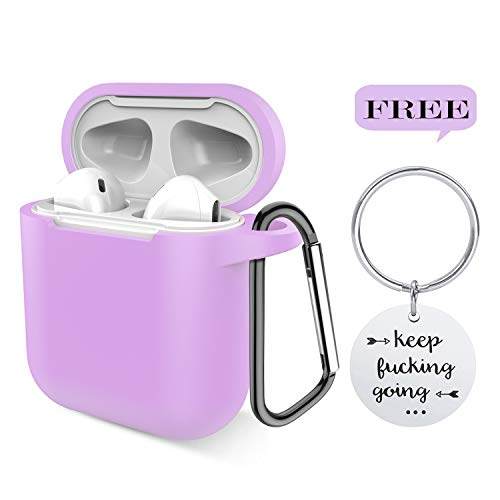 Airpods Case, P&U Protective Thicken Airpods Cover Soft Silicone Chargeable Headphone Case with Anti-Lost Carabiner for Apple Airpods Charging Case (Light Purple)