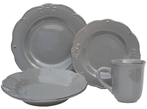 Grey Stoneware (Melange 16 Piece Antique Edge Stoneware Dinner Set Place Setting, Serving for 4, Grey)