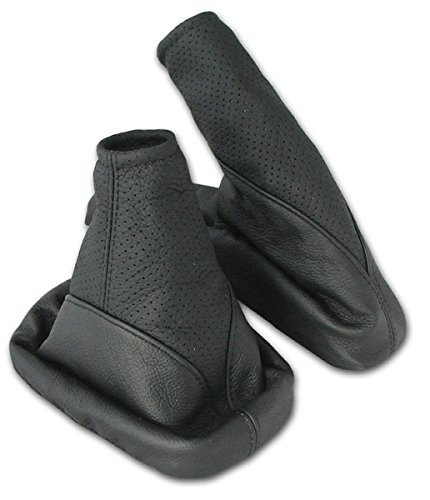 Shift Boot and Handbrake Cuff Set, Leather black-perforated Inter-Sale
