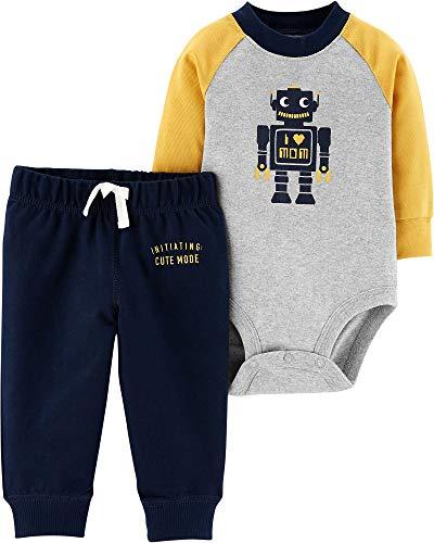 Carter's Baby Boys Graphic Slogan 2-Piece Bodysuit & Pant Set (Newborn, - Baby Carters Boys Robot