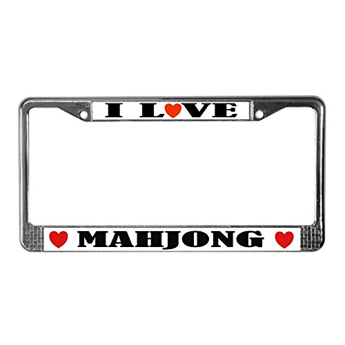 Love Mahjong (CafePress - I Love Mahjong - Chrome License Plate Frame, License Tag Holder)