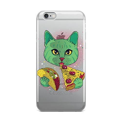 af24a120af Amazon.com: Psychedelic Cat Eating Tacos and Pizza iPhone Case Case Clear  iPhone XS Max XR X 10 8 Plus 7 6s 6: Handmade