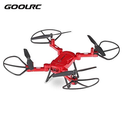 Goolrc RC drone T32 WiFi FPV vuelo 720 p HD Cmara selfie drone 4ch 6-Axis Gyro RC plegable altura quadcopter mantenga g-sensor (Rojo)