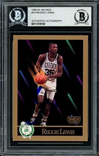 Reggie Lewis Autographed 1990-91 Skybox Card #18 Boston Celtics Beckett BAS #11318183