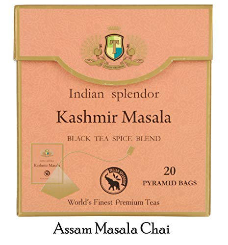 INDIAN SPLENDOR Kashmir Masala - Premium Assam Black Leaf Tea with Spices- Cinnamon, Cardamom, Ginger, Cloves, Liquorice, Fennels and Pepper, in Pyramid Tea Bags. (Robust and Rejuvenating)