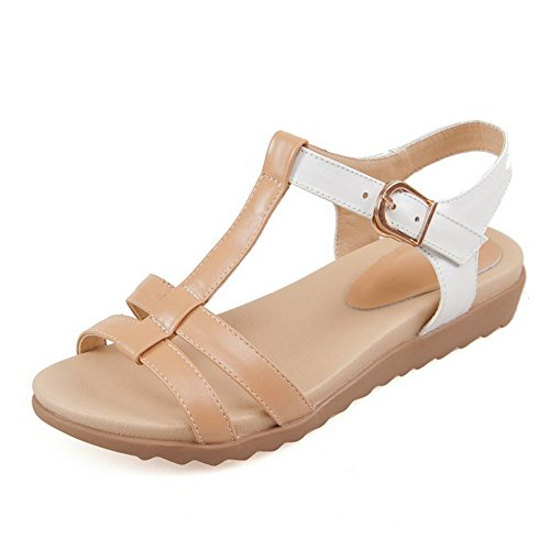 AmoonyFashion Womens Assorted Color Cow Leather Low Heels Open Toe Buckle Sandals Khaki EEZ9Ix