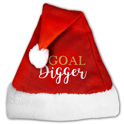 WAN1W0 Goal Digger 1-2 Christmas Hat, Red&White Xmas Santa Claus' Cap for Holiday Party Hat ()