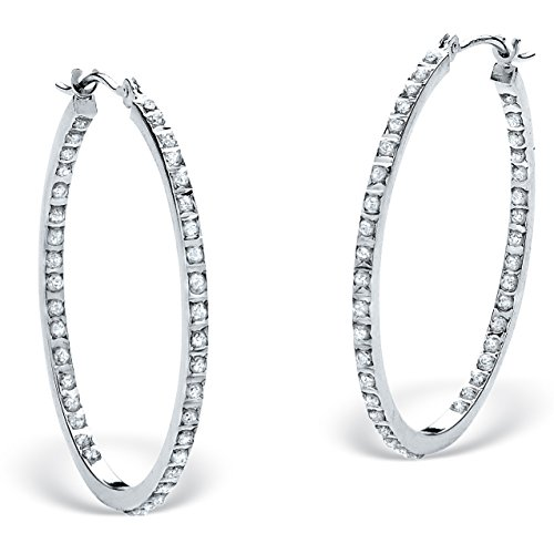 White Diamond Accent Platinum over .925 Sterling Silver Inside-Out Hoop Earrings 1.25″