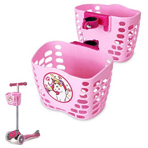 MINI-FACTORY Scooter Basket for Kids, Cute Cartoon Pink Unicorn Scooter Accessories Front Handler Bar Carrying Basket for Kid Girls