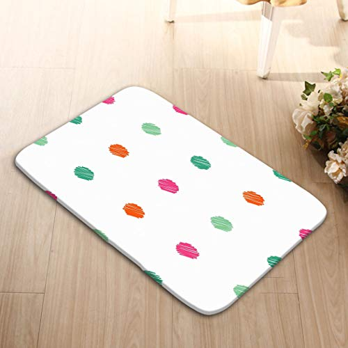 zexuandiy Non-Slip Doormat Non-Woven Fabric Floor Mat Indoor Entrance Rug Decor Mat 23.6(L) x 15.7(W) Polka dot Seamless Pattern Satin Stitch Embroidery