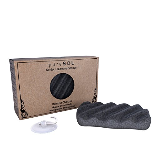 pureSOL Konjac Body Sponge - Activated Charcoal - Body Sponge, 100% Natural Sponge, Eco-friendly - Gentle Exfoliating Sponge, Deep Cleansing, Improved Skin Texture