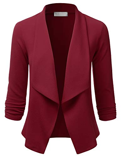 EIMIN Women's Lightweight Stretch 3/4 Sleeve Blazer Open Front Jacket Burgundy M
