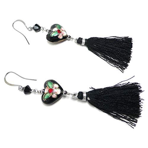 - Chinese Cloisonne Enamel Heart Black Tassel Earrings OOAK