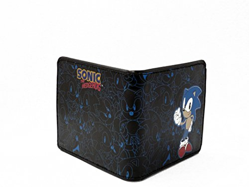 [SONIC THE HEDGEHOG PRINTED CHARACTER BI-FOLD LEATHER WALLET 4 BY 4 INCH] (Hedgehog Costumes For Kids)