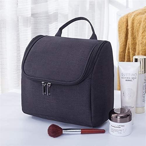 ZEZHE 女性のバッグメンズ防水ナイロントラベルコスメティックバッグオーガナイザーケース必需品メイクアップウォッシュトイレタリーバッグ (Color : Black)