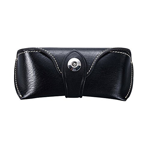 YISIBO Women / Men Handmade Leather Collection Soft Eyeglass Case Sunglasses Holder Black with - Cow Sunglasses
