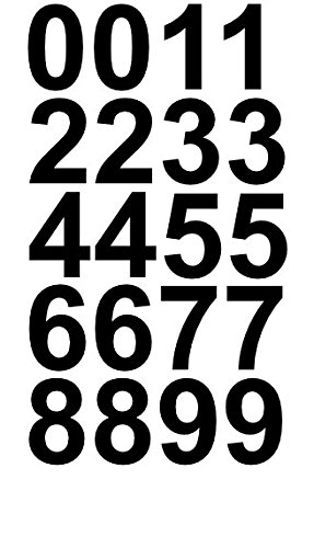 Sheet of 1 Inch (Black) Numbers Vinyl Custom Street Address Mailbox Decal Stickers Kit