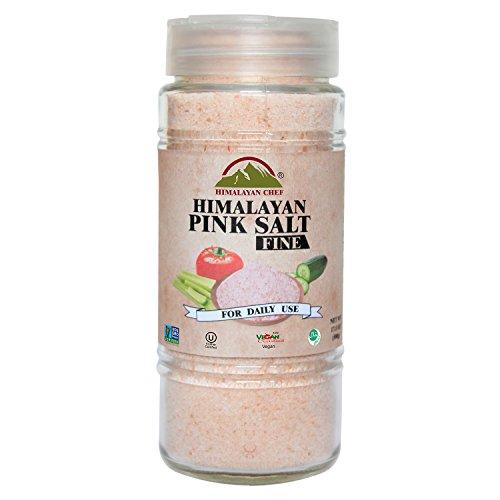 Himalayan Chef Pink Fine Salt Glass Shaker and Jar, 17.5 Ounce (Pack of 6) 6 Bath Sea Salt Glass