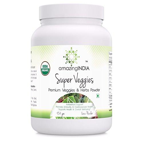 Amazing India USDA Certified Organic Super Veggies 454 gm (16 Oz) Premium veggies & Herbs Powder *Antioxidant Support Promotes immunity & Cardiovascular Health *