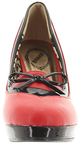 Banned - Plataforma Mujer Rojo - Black-Red