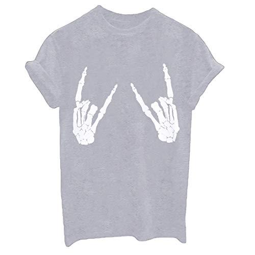 Weigou Women T Shirt Skull Finger Printed T-Shirt Halloween Skeleton Graphic Top Tee Junior Shirt T (L, Grey(White))