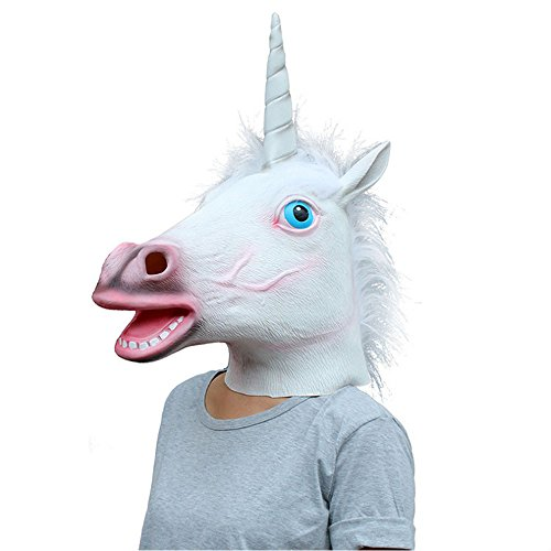 Halloween Costume Party Latex Animal Head Mask Sheep/Horse/Unicorn Mask Collection (Unicorn)