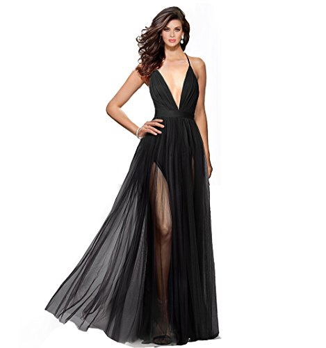 line Spaghetti Straps Criss-Cross Open Back Tulle Dual Front Slits Evening Prom Formal Dress (Black, S) ()
