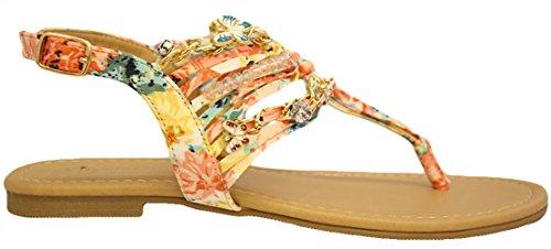 Sandali Classificate Città Con Applicazioni In Metallo Di Fiori E Fiori Sandali Multicolor Di Mve Shoes Pesca Mul
