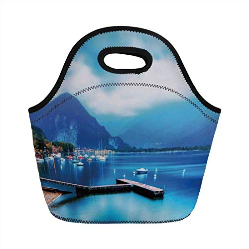 Portable Bento Lunch Bag,Scenery House Decor,Italian Village with Harbor and Sail Boats Magical Countryside Rural Photo,Blue,for Kids Adult Thermal Insulated Tote Bags