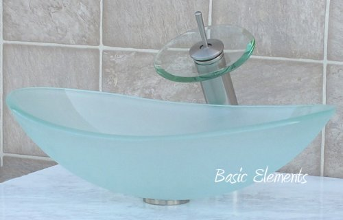 Frosted Square Glass Vessel - Bathroom frosted boat shape Glass Vessel Vanity Sink Nickel Faucet TB15FL4