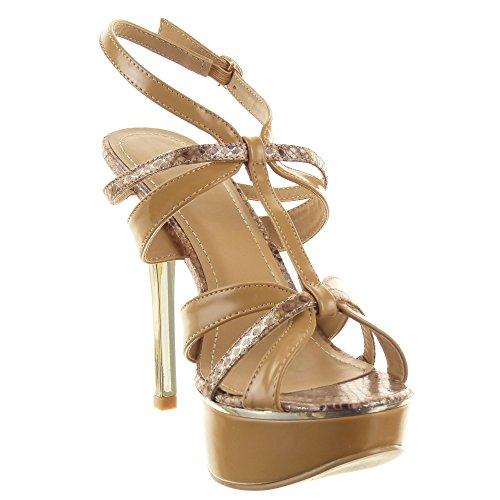 Sopily - Scarpe da Moda scarpe decollete sandali Stiletto cinturino Zeppe alla caviglia donna Pelle di serpente multi-briglia Tacco Stiletto tacco alto 12.5CM - Cammello