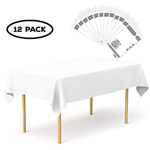 Plastic Tablecloth 12 Pack Disposable Rectangle Table Covers - 54