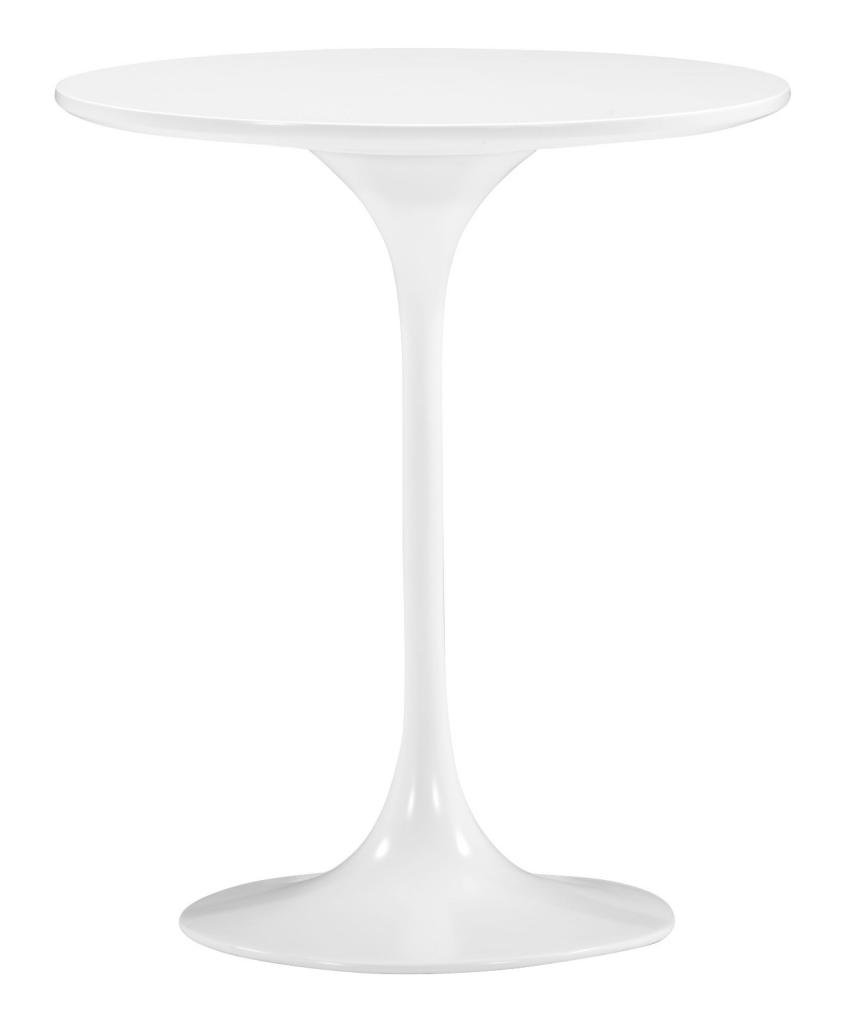 Glossy White Pedestal Side Table by America Luxury - Tables