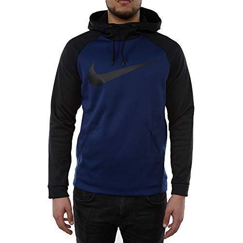 Nike Mens Therma Swoosh Essential Pull Over Hoodie Blue Void/Black 931991-478 Size Large