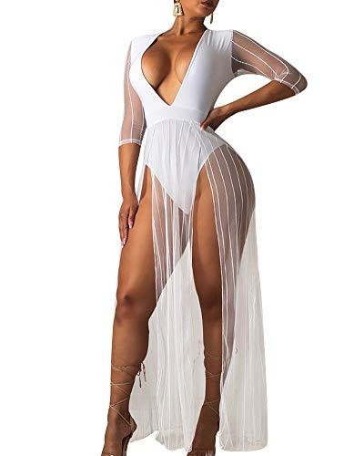 Womens Maxi Romper Dress - Deep V Neck See Through Mesh High Slit Summer Dresses Jumpsuits White M ()