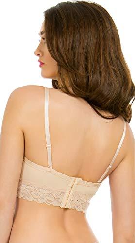 Yandy Women's Nude Multi-Way Removable Spaghetti Straps Longline Bra Size 34C -