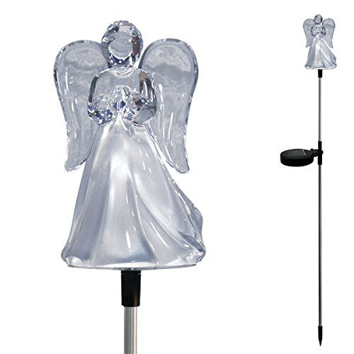 Angel With Frosted Skirt Solar Garden Stake Light LED Color-Changing, Set of 2
