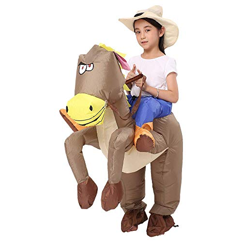 Decalare Dinosaur/Unicorn/Sumo/Bull Inflatable Costume Suit Halloween Cosplay Fantasy Costumes Kids (Child-Horse)