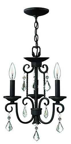 Hinkley 3503OL Crystal Accents Three Light Foyer from Casa collection in (Olde Black Three Light Foyer)