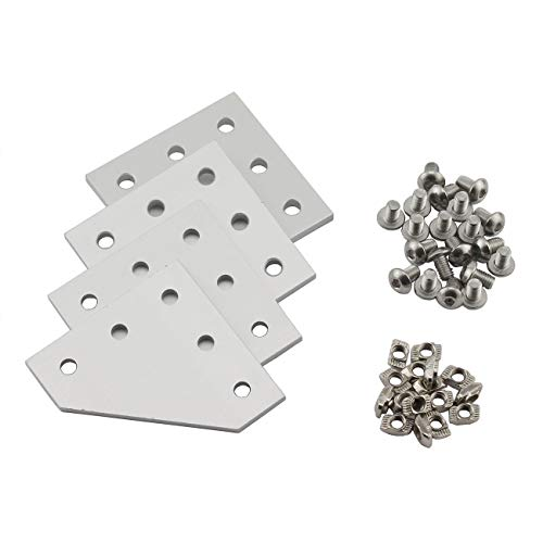 (PZRT 2020 Series L Shape Joint Plate Bracket Kit,4pcs Joint Plate,20pcs M5 T-slot Nuts, 20pcs M5x8mm Hex Socket Cap Screw,for Standard 6mm Slot Aluminum Profile)