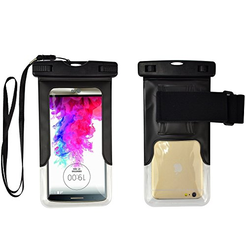 Price comparison product image Black Waterproof Case Cellphone Diving Pouch for Samsung Galaxy J7 V / C7 Pro / A7 / C9 Pro / On NXT / On8 / A8 / On7 / J7 Prime / On7 Pro / S7 Active / C7 / J7 / S7 Edge / A9 / A7
