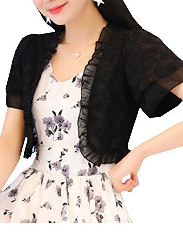 [SeleCreate] 花柄 フリル ボレロ レディース ショート丈 シフォン カーディガン 半袖