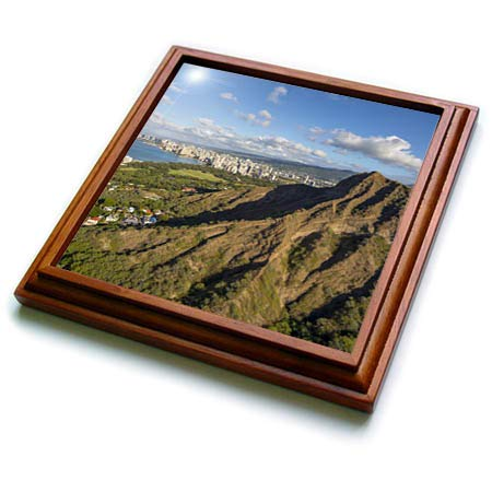 3dRose Danita Delimont - Hawaii - Diamond Head, Waikiki, Oahu, Hawaii - 8x8 Trivet with 6x6 ceramic tile (trv_314791_1)