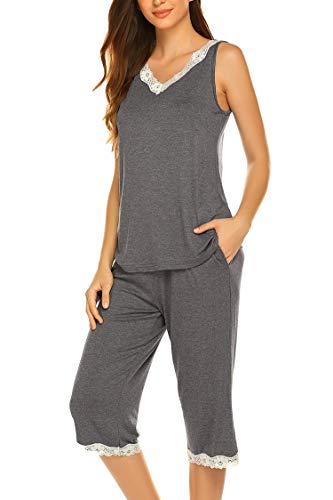 - Hotouch Capri Sets Women's 2 PC Capri Pjs Sleeveless V Neck Loungewear Capri Dark Grey M