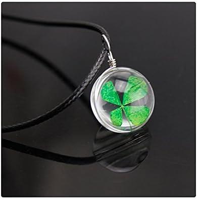1 Four leaf clover glass pendant silver tone L255
