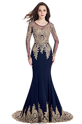 MisShow Sparkly Crystals Gold Applique Mermaid Prom Evening Dresses Navy Blue, US2