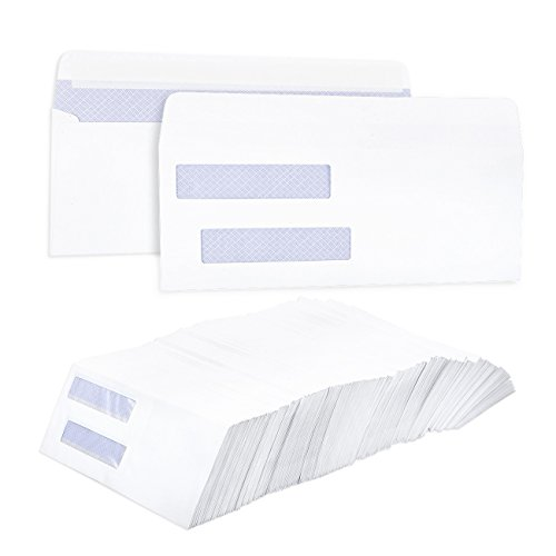 Pack of 500 Check Envelopes - Double Window Self-Seal Security Envelopes - Self-Adhesive Accounting Software Check Envelopes Financial, Business Personal Use, White - 8.75 x 3.6 inches by Juvale
