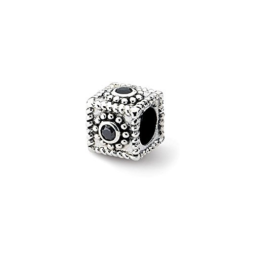 Reflection Beads Sterling Silver Square Simulated CZ Bead (10 x 8 mm)